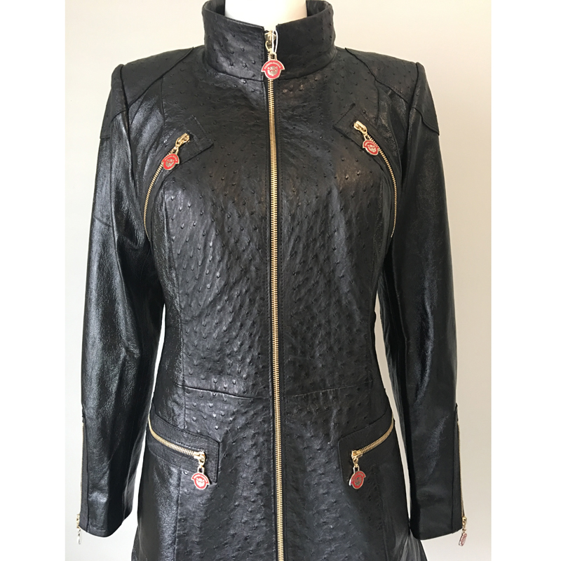 7745d735836 Cs Limited Edition Ostrich Leather Jacket Canada Sansar Pround. Varsity  Style Jacket Wool Genuine Ostrich Skin Antique Saddle X Large